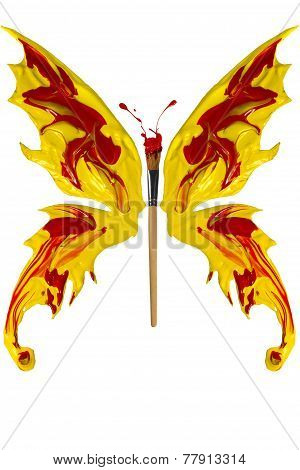 Red And Yellow Paint Made Butterfly