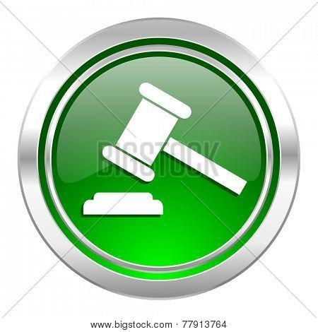 auction icon, green button, court sign, verdict symbol