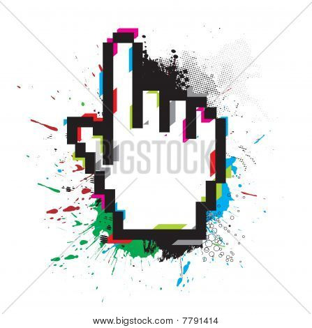 grunge hand mouse symbol