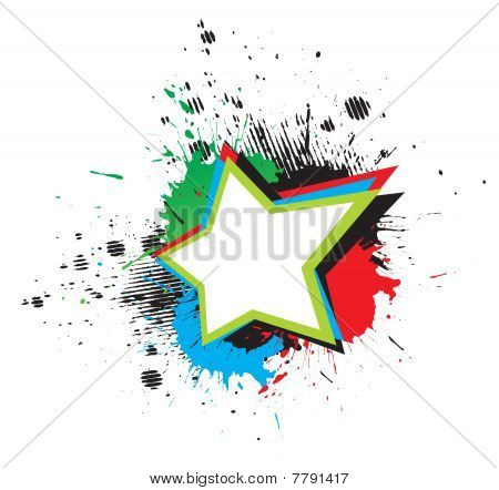 color grunge star & wings on white background