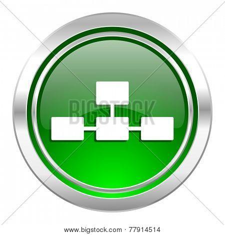database icon, green button