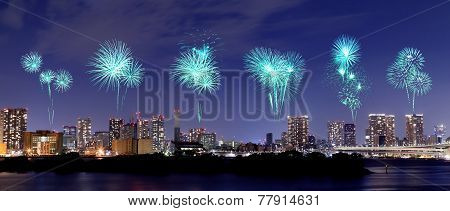 Fireworks Celebrating Over Odaiba, Tokyo Cityscape At Night