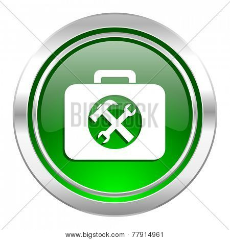 toolkit icon, green button, service sign