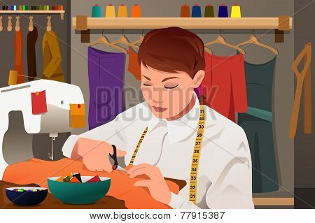 Tailor Working With Sewing Machine