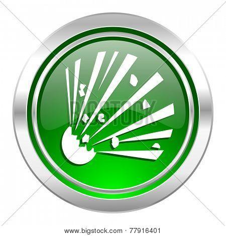 bomb icon, green button