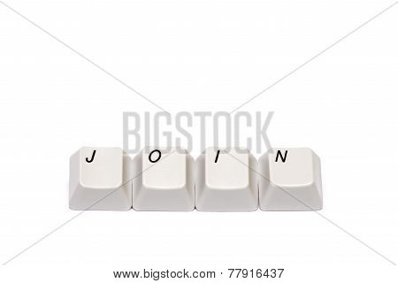 Word collected from computer keypad buttons join isolated