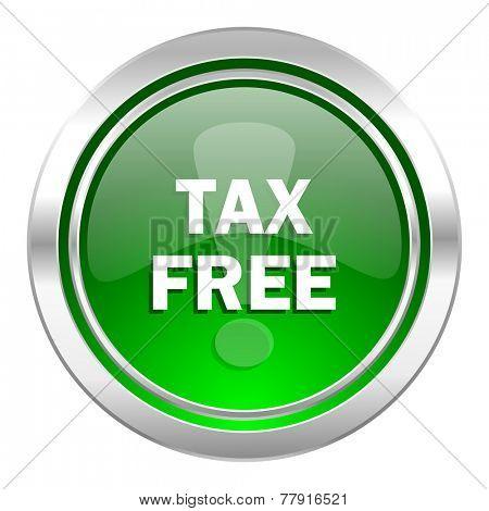 tax free icon, green button