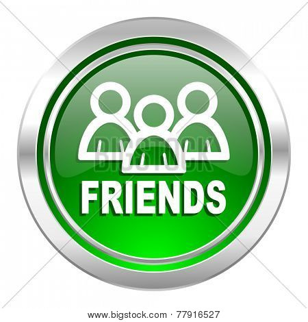 friends icon, green button