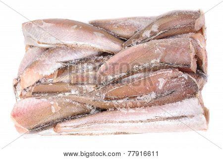 Frozen Fish Hake Isolation On White