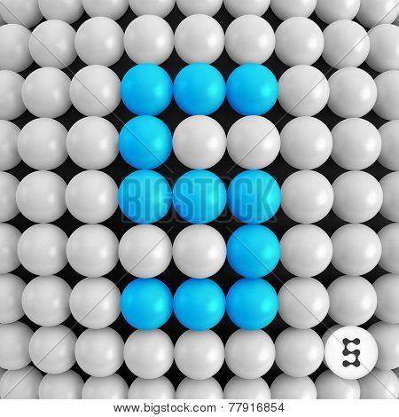 Number five. Abstract mathematics background. 3d vector illustration.