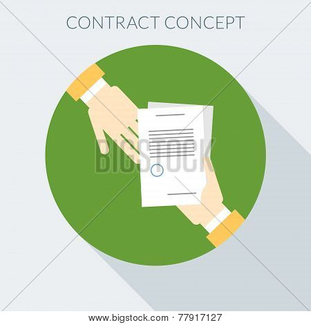 Contract Concept. Hand Giving Document To Other Hand. Flat Design Style Vector Illustration