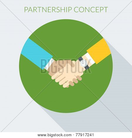 Partnership Concept. Handshake Vector Illustration In Flat Design Style