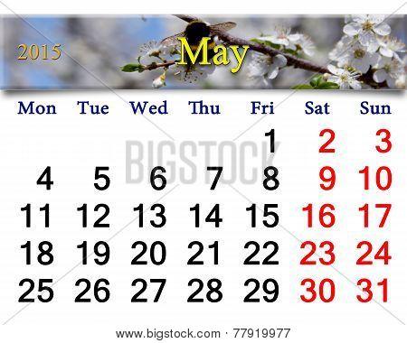 Calendar For The May Of 2015 Year