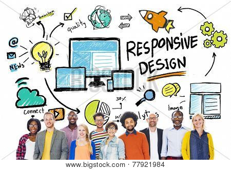 Responsive Design Internet Web People Diversity Friendship Concept