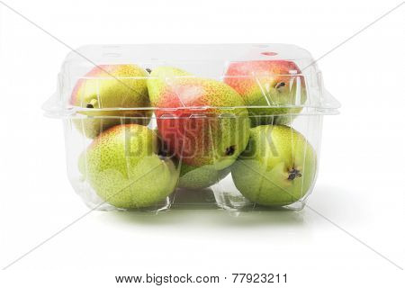 Fresh Blush Pears In Plastic Container On White Background