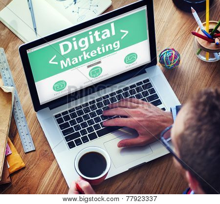 Digital Marketing Online Working Office Concept