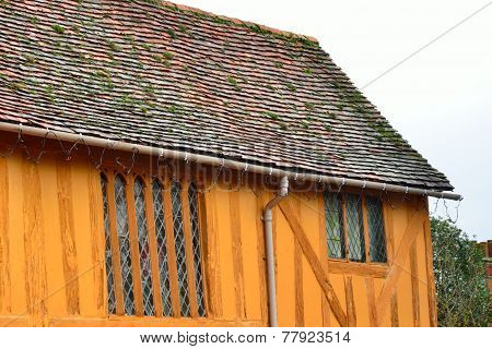 end of orange half timbered house