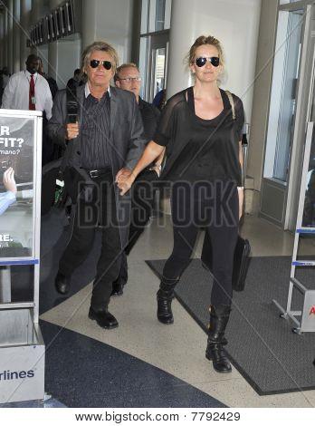 Los Angeles - April 9: Rocker Rod Stewart Is Seen With Wife Penn