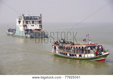 Ferry boats cross Ganga river, Bangladesh.