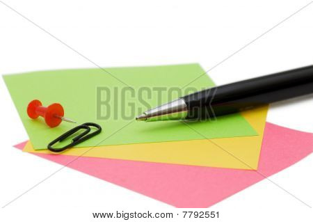 Pen And Note Isolated On White Background