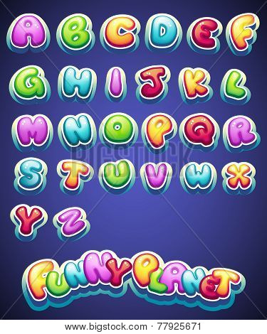 cartoon colored letters for decoration of different names for games. books and web design