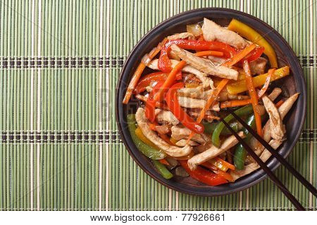 Chinese Chicken With Vegetables Close-up Top View