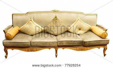Beige Luxurious Four-seat Sofa With Pillows, Isolated