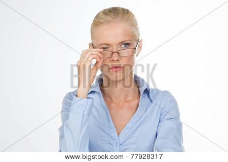 Nordic Girl Removing Her Glasses