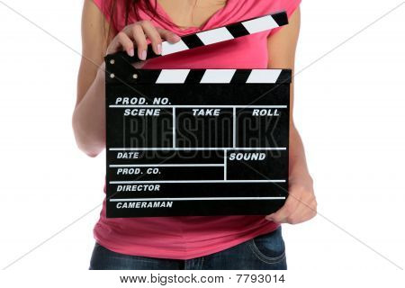 Woman using slate