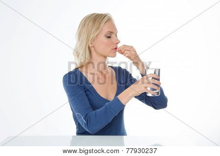 Profile Of Worried Blond Woman