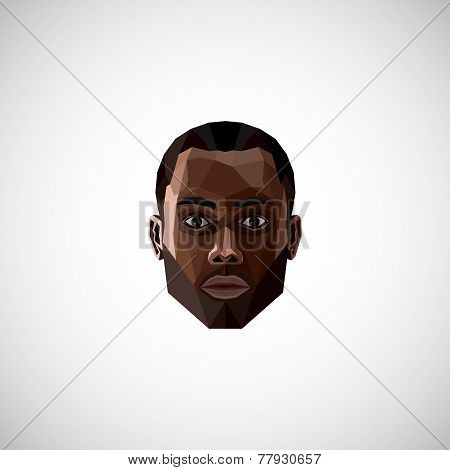 illustration with a black male face in polygonal style