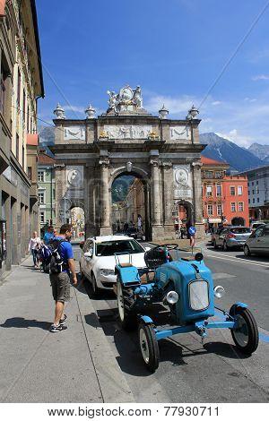 Old car on Innsbruck streets