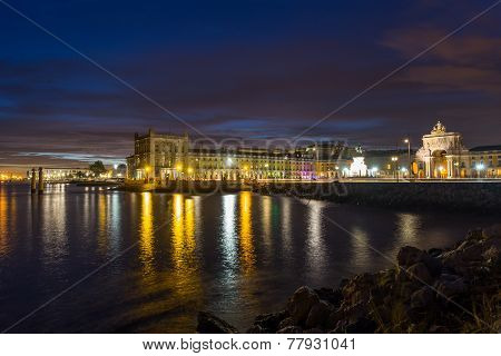 Night On River Tejo (lisbon, Portugal)
