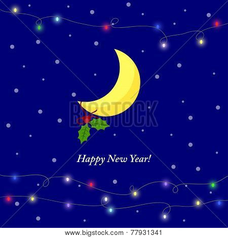 Illustration For Winter Holidays Greeting Card With Cartoon Yellow Moon, Lights And Branch Of Holly