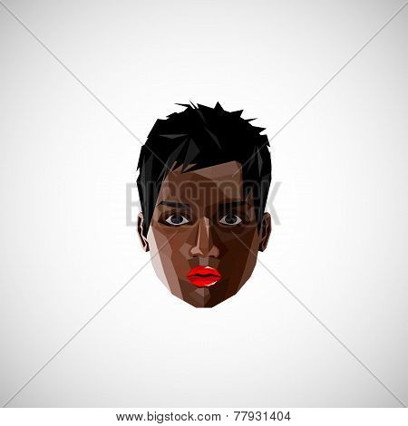 illustration with a black female face in polygonal style