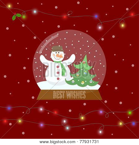 Glass Bowl With Snow And Snowman And Shining Lights On The Garland For Winter Holidays Greeting Card