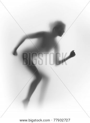 Diffuse silhouette of a runner woman