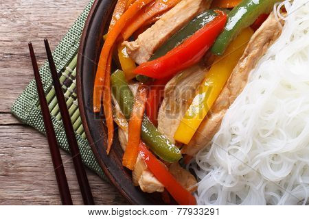 Asian Food Chicken With Rice Noodles Macro Horizontal Top View