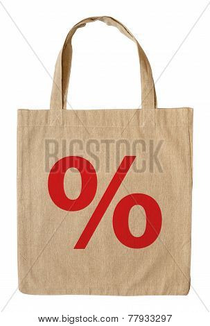 Cotton Shopping Bag With Symbol Percent Isolated On White Background