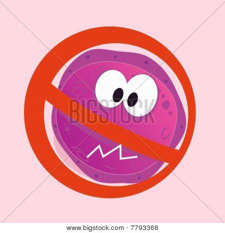 Stop virus - aids virus in red alert sign