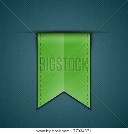 Green bookmark decoration ribbon on blue fabric background. Stitched silky ribbon. Vector illustration