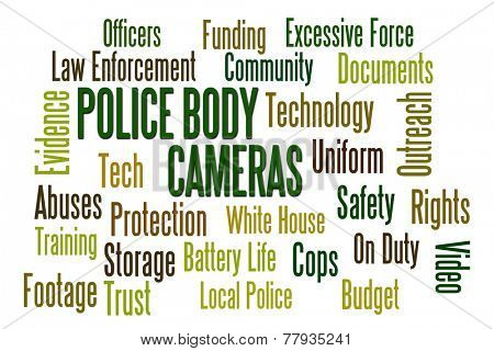 Police Body Cameras word cloud on white background