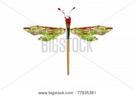Red Green White Paint Made Dragonfly