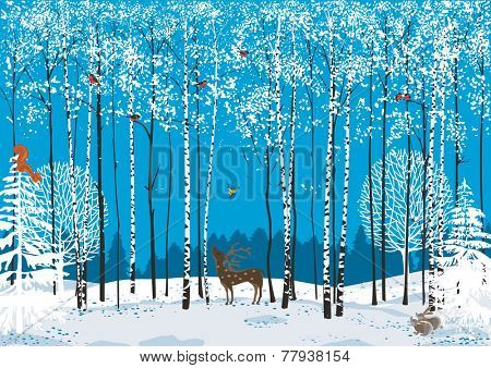 Birch trees with perching flock of bullfinches and different animals around in a winter forest