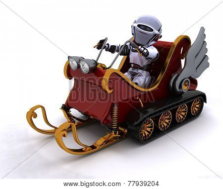 3D Render of a Robot on a snowmobile sleigh