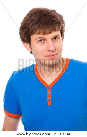 Young Male In Blue Shirt, Isolated Portrait, Positive And Confident