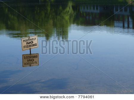 No fishing sign reflection
