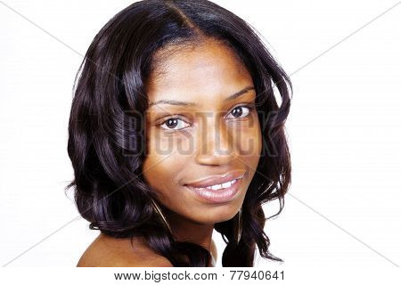 Portrait Young Black Woman On White Background