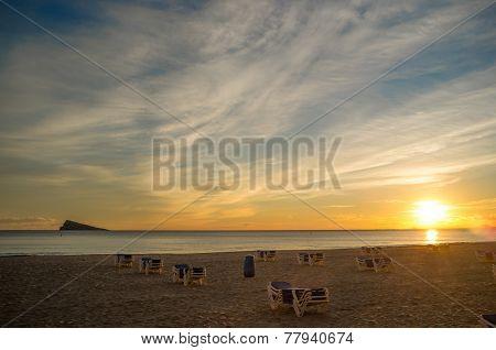 Sunset On Benidorm Beach