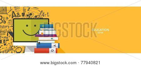 Flat design concepts for education & tutorials